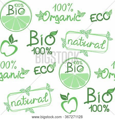 Bio, Organic Background. Vector Seamless Pattern For Natural Product, Farm Market, Food Market, Eco