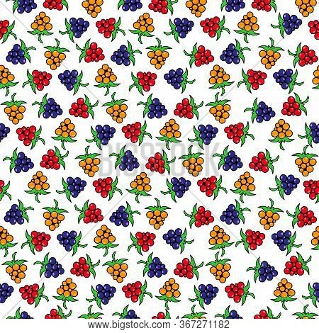 Seamless Pattern Of Colorful Berries. Blackberries, Raspberries And Bramble Are Isolated On A White