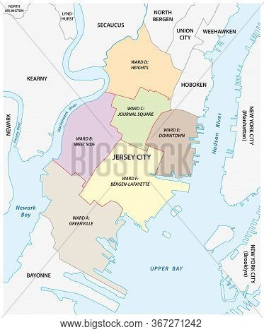 Vector Ward Map Of The City Of Jersey City, New Jersey, Usa