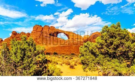 Skyline Arch In The Devil's Garden, One Of The Many Sandstone Arches In Arches National Park Near Mo