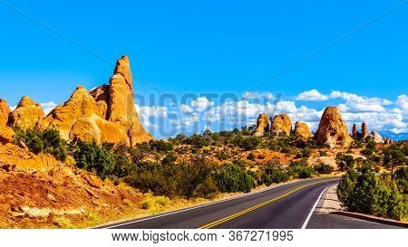 Sandstone Pinnacles And Other Rock Formations Along Arches Scenic Drive In Arches National Park Near