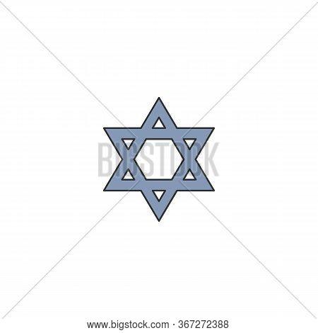 Symbolic Blue Magen David Star Cartoon Icon Vector Illustration Isolated.
