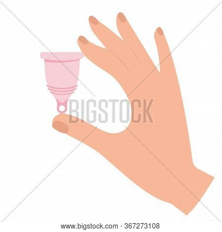 Menstrual Cramp In Period, Use Menstrual Cup Inside Vagina. Zero Waste Feminine Device. Menstuation