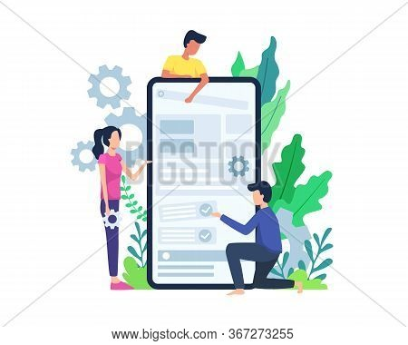Vector Illustration People Build Mobile Application. Developer Build Mobile Application, Men And Wom