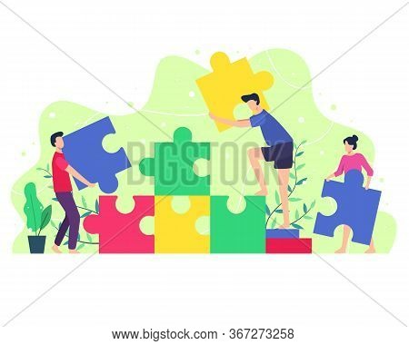 Vector Illustration People Composing A Puzzle. Concept Of Teamwork, Men And Women Bring Puzzles To B