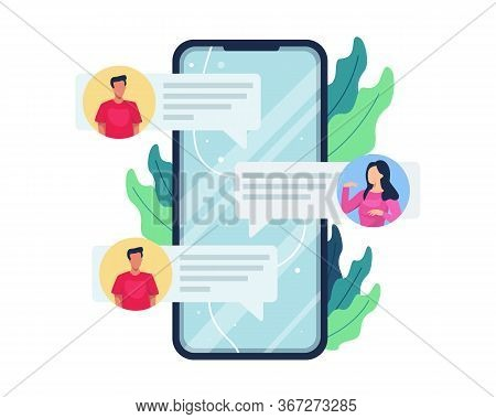 Vector Illustration Online Chat Concept. People Communicate With Smartphone, Men And Women Reciproca