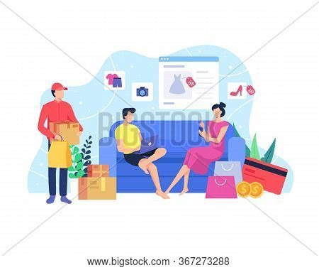 Online Shopping Concept. Shop From Home, Concept Of Online Shopping. Man And Woman Sit On A Sofa Hol