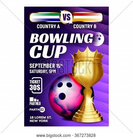 Bowling Cup Best Bowler High Score Banner Vector. Bowling Style Multicolor Ball And Golden Trophy Fo