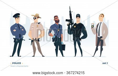 Police Officers Set. Young Cheerful Police Men Set. Police Character Collection.