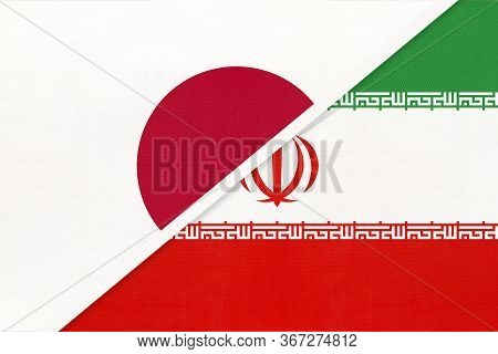 Japan And Iran Or Persia, Symbol Of Two National Flags From Textile. Relationship, Partnership And C