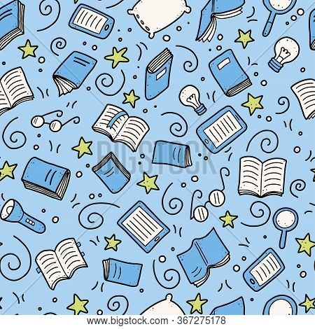 Hand Drawn Seamless Pattern Of Book Doodle Elements, Education Symbols. Vector Illustration For Book