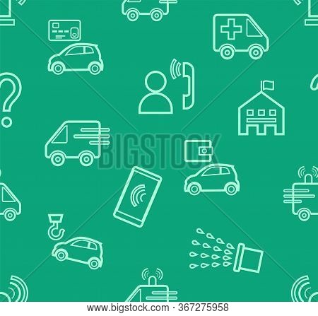 Emergency Services, Seamless Pattern, Contour Drawing, Green, Color, Flat, Vector. Thin Contour Draw