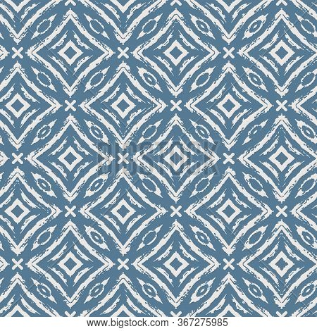 Ikat Damask Seamless Ogee Vector Background Pattern In Blue Color For Fabric, Wallpaper, Scrapbookin