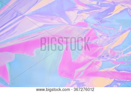 Multicolored Neon Background With Sparkles And Lights. Iridescent Holographic Abstract Soft Pastel C
