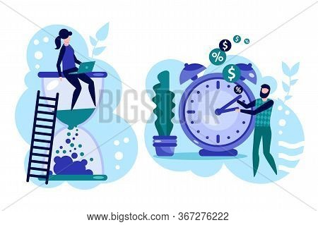 Time Control And Management. Deadline And Pressure At Work, Businesspeople Working Overtime In Offic