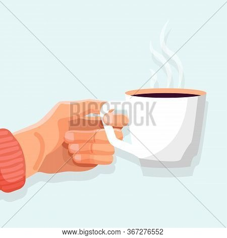 Hot Drink Poster. Side View Of Ceramic Mug With Black Tea. Female Hand Holding Cup Of Hot Drink With
