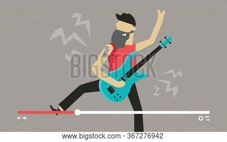 Musician Play Guitar. Bearded Man Play Electro Guitar Solo. Videostream Of Music Festival And Online