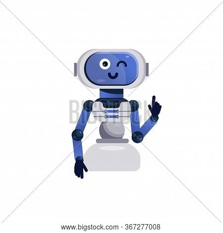 Robot Toy. Cheerful Chatbot Icon, Smiling Android Toy. Friendly Robot Isolated On White Background.