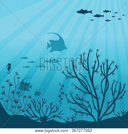 Underwater Ocean. Underwater Sea Fauna With Coral Reef, Seaweed, Plants And Fishes Silhouettes. Unde
