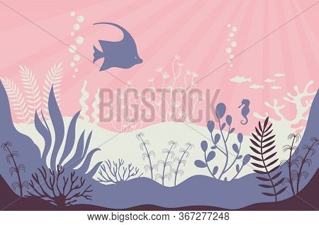 Coral Reef. Marine Underwater Life Vector Background. Tropical Sea With Seaweed And Its Inhabitants