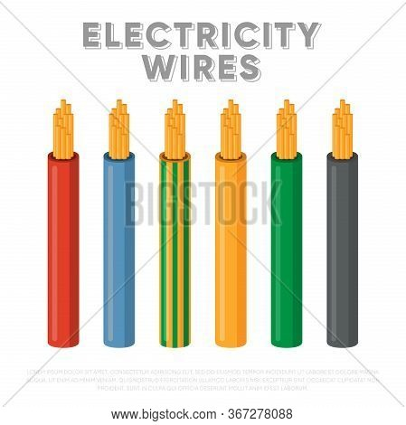 Electricity Wires. Multicolored Power Cables In Insulation Vector Illustration. Electric Wires For T