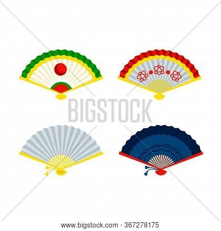 Chinese Hand Fans. Beautiful Asian Culture Accessory Vector Illustration. Opened Oriental Paper Fold