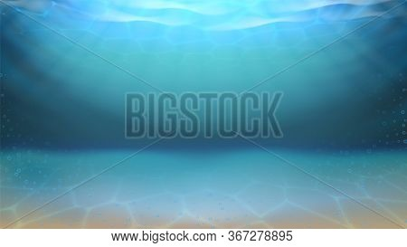 Underwater Sea Sandy Bottom And Bubbles Vector. Diving Underwater Seascape. Purity Undersea Water, A