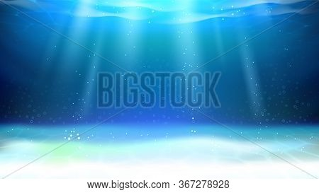 Underwater Aquarium Sunlight And Bubbles Vector. River Underwater Illuminated Bottom, Rippled And Re
