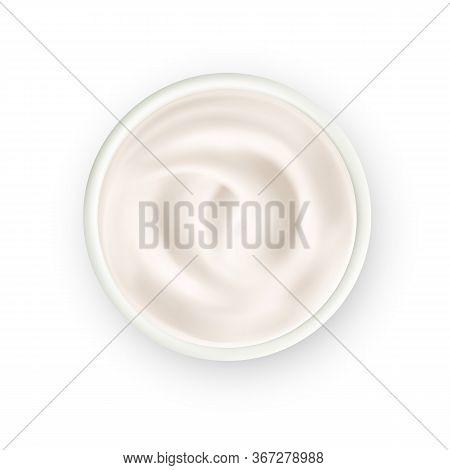 Yoghurt Dairy Creamy Dessert Food Top View Vector. Bio Organic Home Made Yoghurt Nutrition In Bowl.