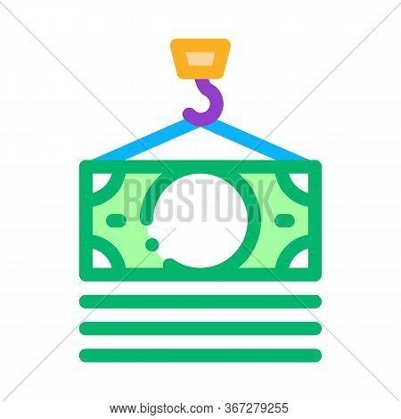 Hook Cash Bill Icon Vector. Hook Cash Bill Sign. Color Symbol Illustration
