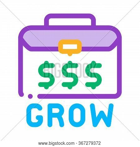 Money Case Growing Money Icon Vector. Money Case Growing Money Sign. Color Symbol Illustration