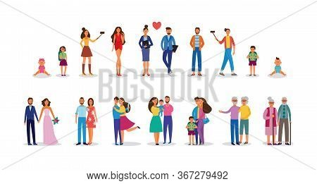 Stages Of Family Development And Life Cycle - Flat Vector Illustration Isolated.