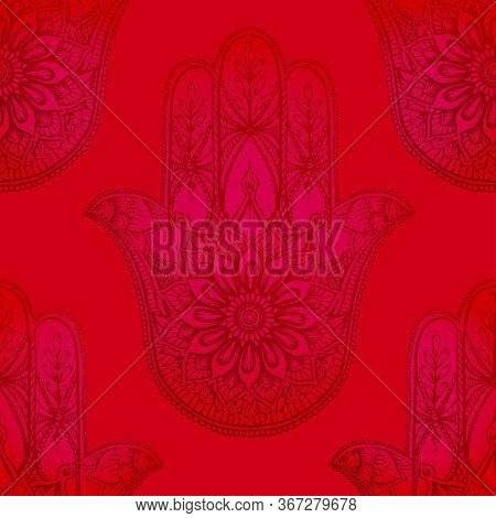 Seamless Pattern With Ornate Hand Drawn Hamsa. Popular Arabic And Jewish Amulet. Vector Illustration