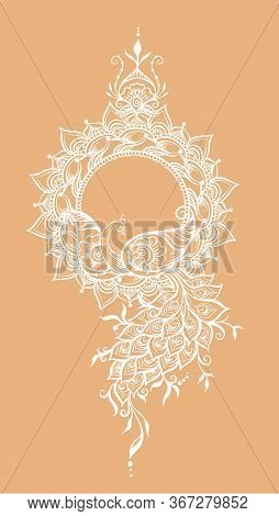 Eastern Ethnic Style Compositions, Mehendi, Traditional Indian White Henna Floral Ornament With Peac