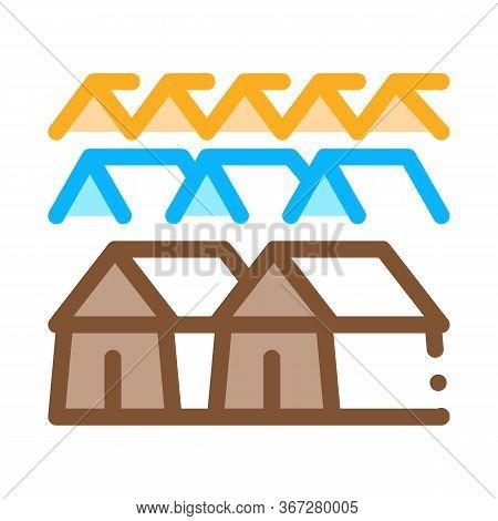Pilgrimage Houses Icon Vector. Pilgrimage Houses Sign. Color Symbol Illustration