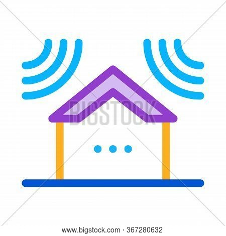 Sound Acting On Residential Building Icon Vector. Sound Acting On Residential Building Sign. Color S