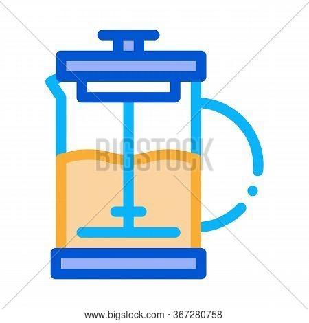 Press Teapot Icon Vector. Press Teapot Sign. Color Symbol Illustration