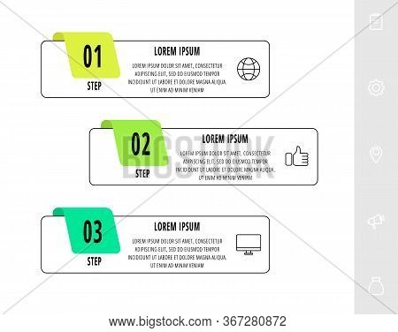 Vector Infographics Design Template With Label. Three Steps. Modern Line Concept Can Be Used For Dia