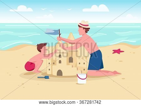 Beach Family Activity Flat Color Vector Illustration. Parent And Kid Summer Entertainment. Father An
