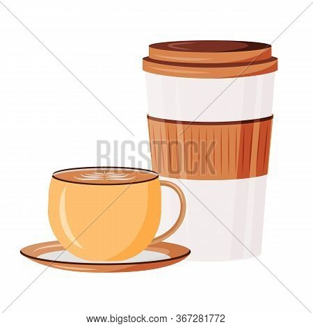 Caffeine Drinks Cartoon Vector Illustration. Cappuccino In Ceramic Cup. Espresso And Latte Takeout.