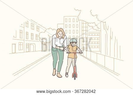 Motherhood, Riding, Childhood, Training Concept. Cartoon Characters Young Woman Mother Teaching Boy