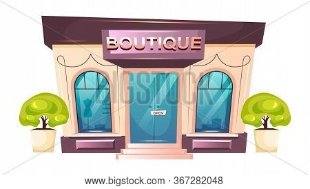 Premium Boutique Front Cartoon Vector Illustration. Modern Shopfront Flat Color Object. Luxury Fashi