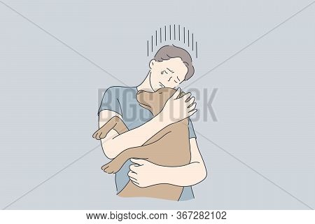 Depression, Frustration, Embrace, Help, Pet Concept. Young Crying Frustrated Depressed Man Boy Carto