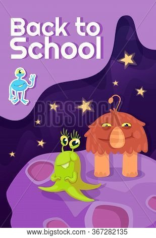 Back To School Poster Flat Vector Template. Fantastic Creatures, Mythical Animals. Brochure, Booklet
