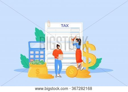 Tax Payment Guideline Flat Concept Vector Illustration. People Filling Invoice, Utility Bill 2d Cart