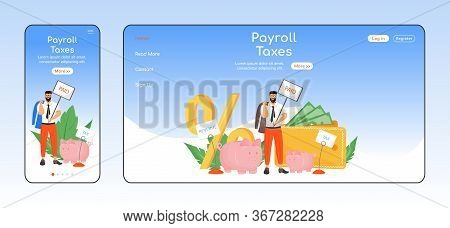 Payroll Taxes Adaptive Landing Page Flat Color Vector Template. Taxation Policy Mobile And Pc Homepa