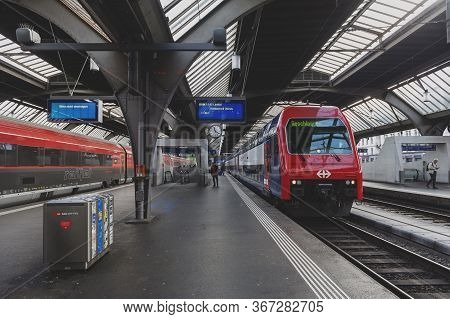 Zurich, Switzerland - October 2019: Double-deck Push-pull S-bahn Train (dpz Rabe 450 Class) Stopping