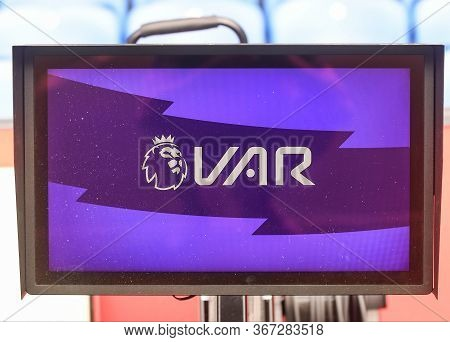 London, England - August 31, 2019: The Var Screen Pictured Ahead Of  The 2019/20 Premier League Game