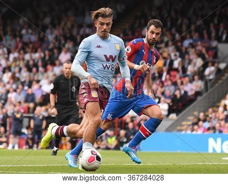 London, England - August 31, 2019: Jack Grealish Of Villa (l) And Luka Milivojevic Of Palace (r) Pic