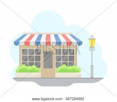 Paris Street View With Store Facade And Streetlight Vector Illustration